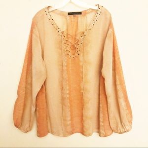 Rose & Olive Semi-Sheer Snakeskin Pattern Blouse